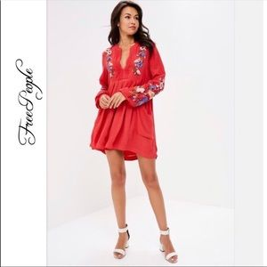 NWT Free People Mia Gauze Embroidered Mini Dress